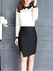 Asymmetric-Hem-Slit-Plain-Pencil-Midi-Skirt