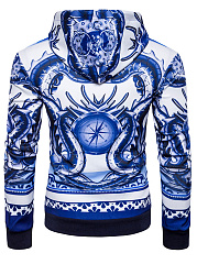 Stylish Blue And White Porcelain Printed Men Hoodie