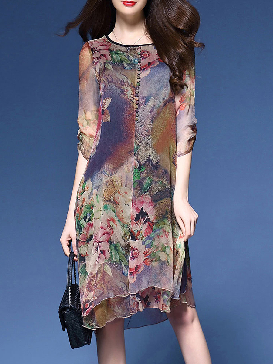 Women Round Neck Printed Chiffon Shift Dress