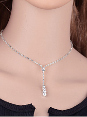 Simple Bridal Rhinestone Necklace Ear Set