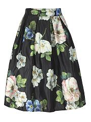 Elegant-Floral-Printed-Flared-Midi-Skirt