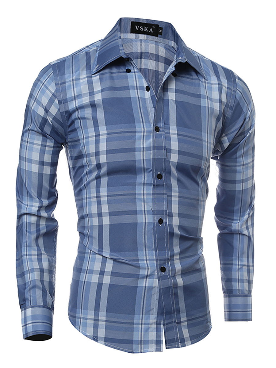 Fitted Basic Plaid Men Shirts