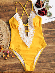 V Neck  Patchwork  Lace One Piece Swimwear