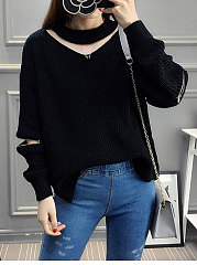 Halter  Zips  Hollow Out Plain Pullover