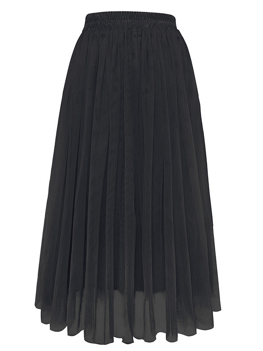 Solid Hollow Out Elastic Waist Flared Maxi Skirt
