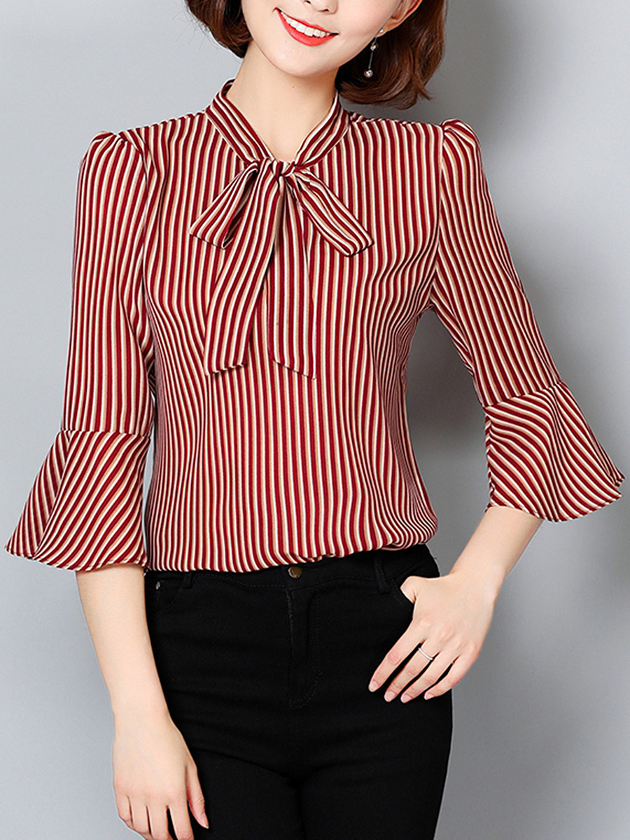 Tie Collar Vertical Striped Bell Sleeve Blouse