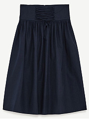 Lace-Up-Plain-Flared-Midi-Skirt