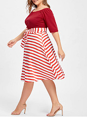 Off Shoulder Vintage Striped Bowknot Midi Summer Skater Dress