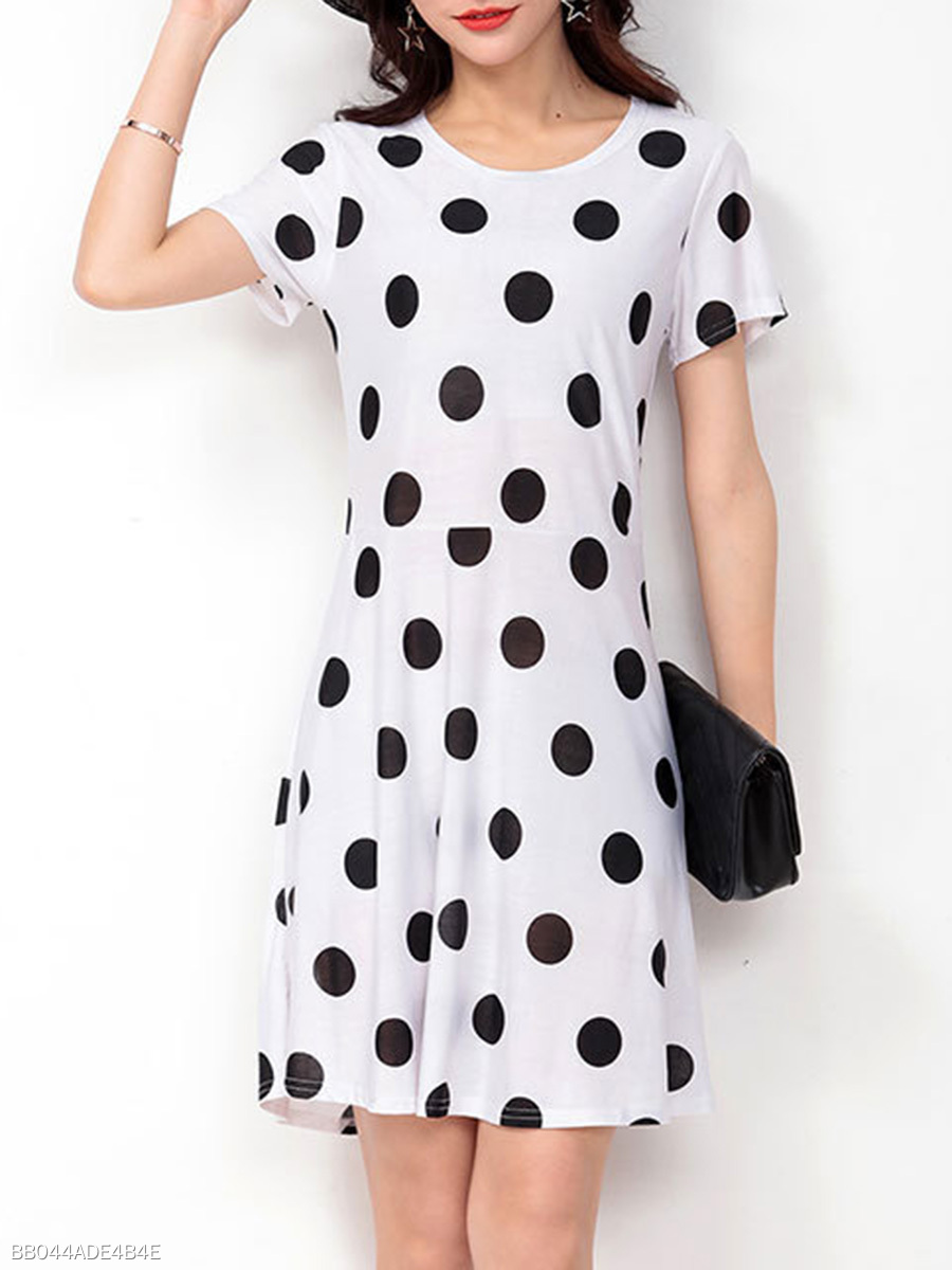 Round Neck  Polka Dot Printed Mini Skater Dress