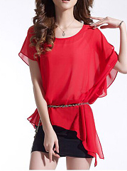 Round Neck Chiffon Blouse And Fitted Dress