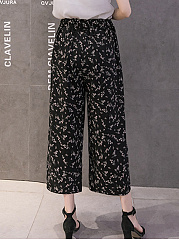 Pocket Printed Chiffon Cropped Wide-Leg Casual Pants