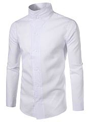 High Neck Single Breasted Plain Men Shirts