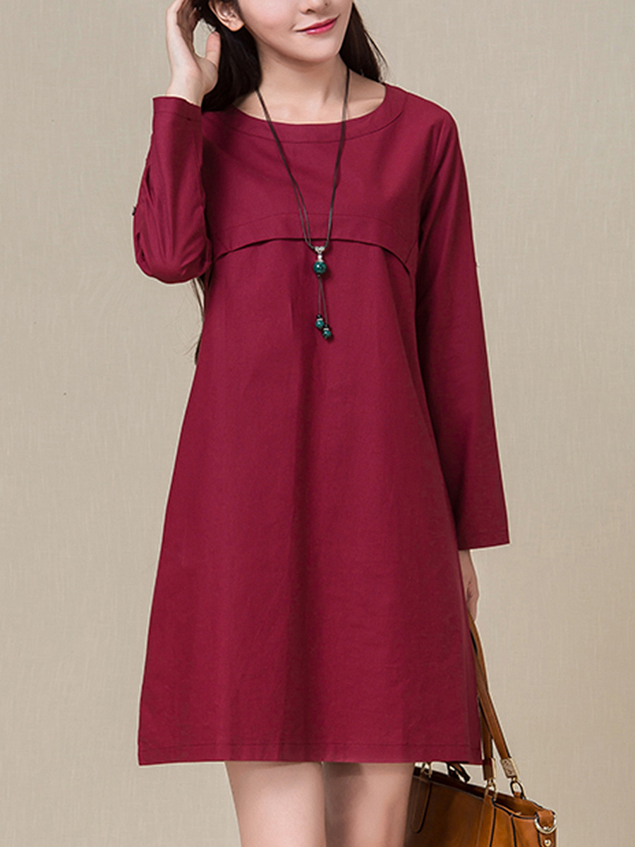 Round Neck Plain Roll-Up Sleeve Shift Dress