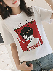 Summer  Cotton  Women  Round Neck  Letters Printed Short Sleeve T-Shirts
