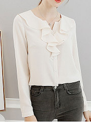 Autumn Spring  Polyester  Women  V-Neck  Flounce  Plain  Long Sleeve Blouses