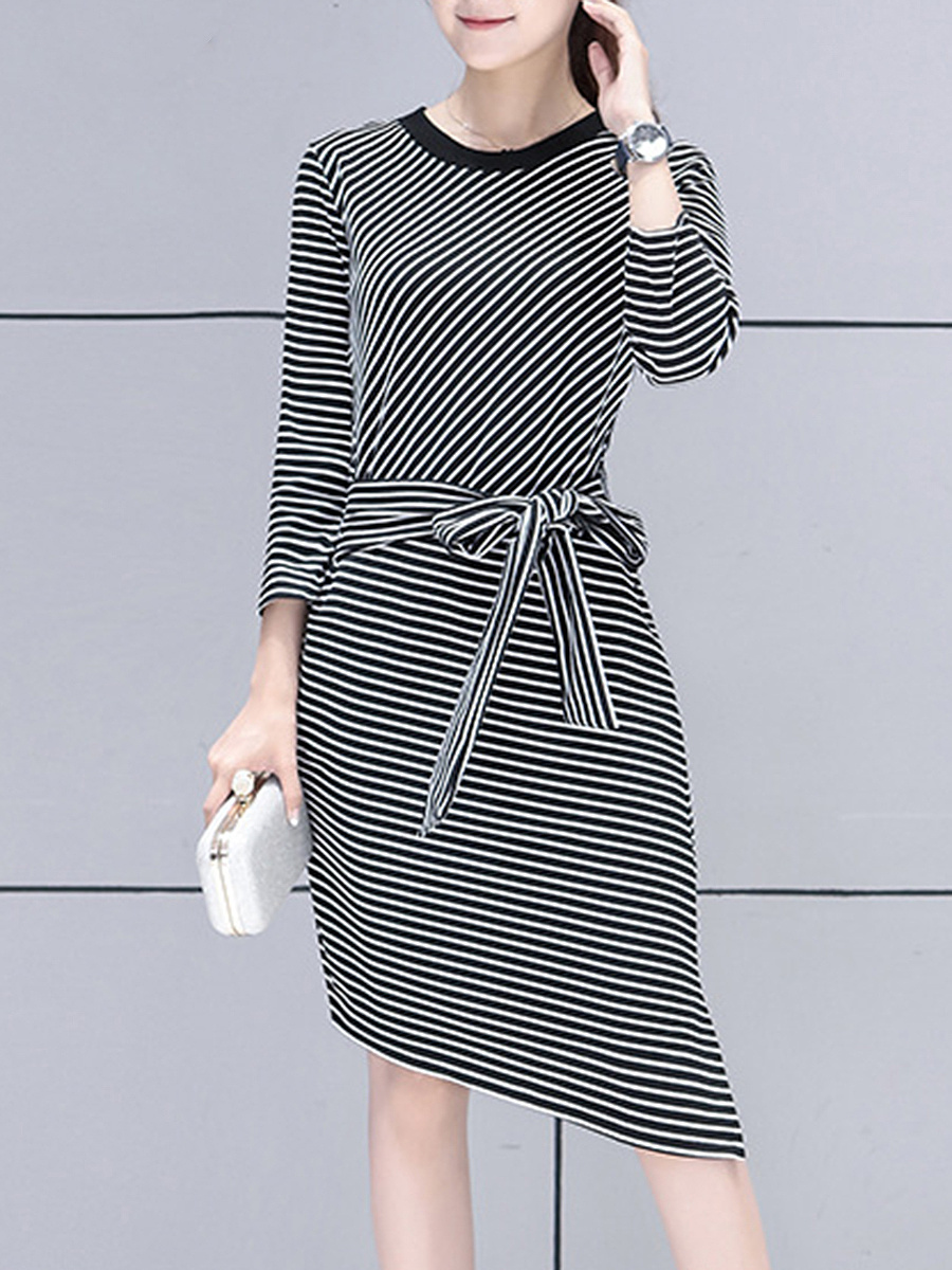 Striped Asymmetric Hem Tie-Front Bodycon Dress