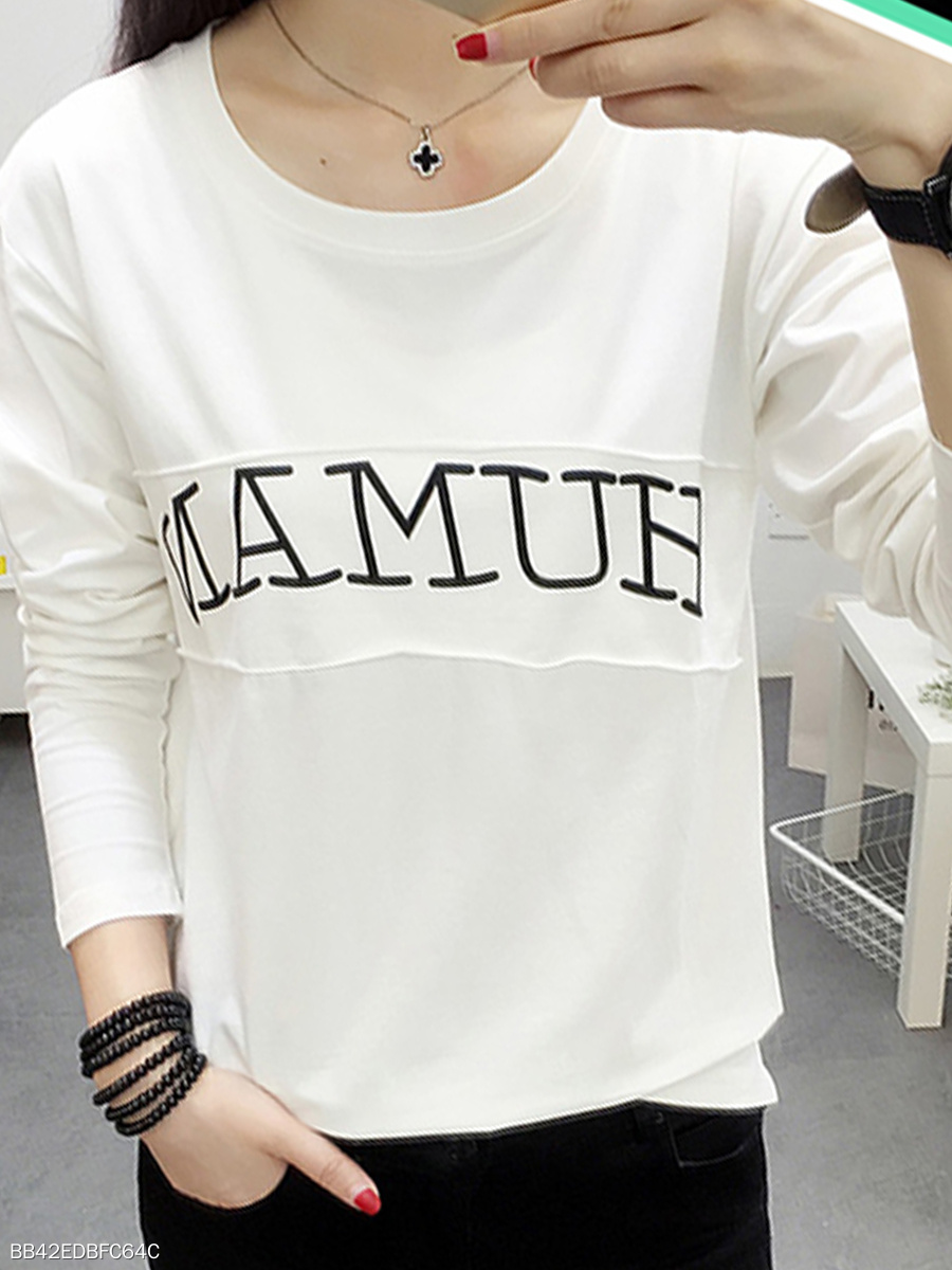 Round Neck  Letters Long Sleeve T-Shirts