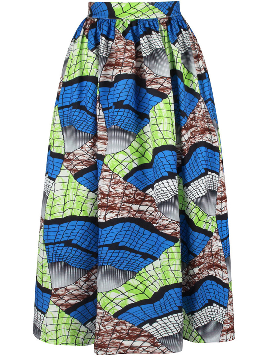 Unique Printed Elastic Waist Flared Maxi Skirt