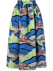 Unique-Printed-Elastic-Waist-Flared-Maxi-Skirt