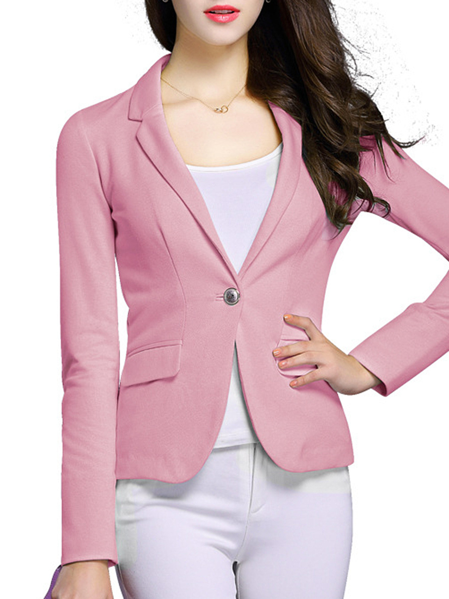 Notch Lapel Plain Single Button Long Sleeve Blazer