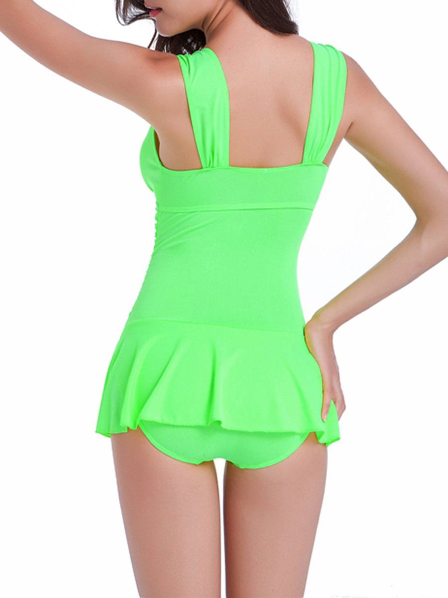 Plain Ruched Skirted One Piece