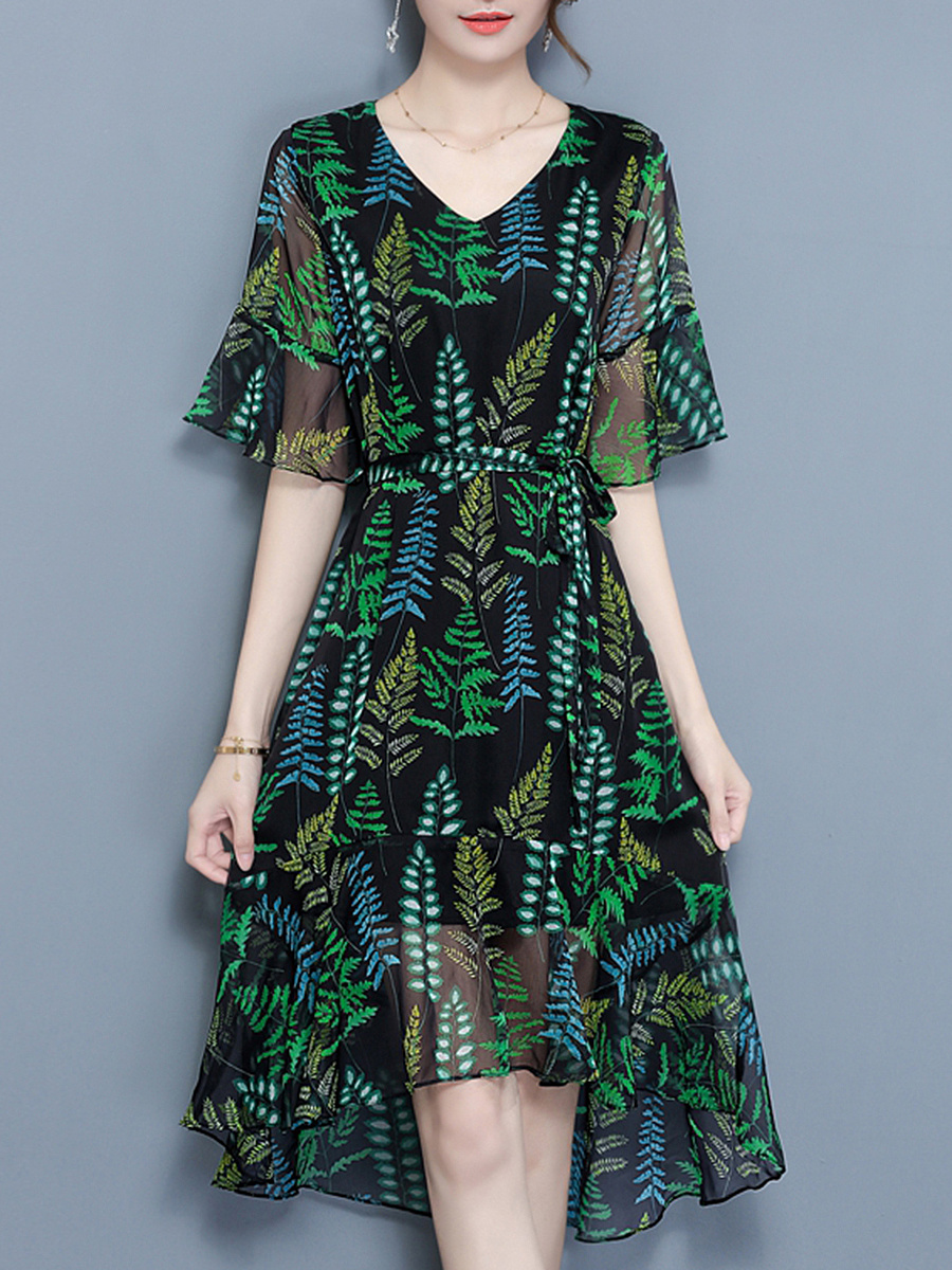 V-Neck Ruffled Hem Leaf Printed Hollow Out Bell Sleeve Maxi Dress