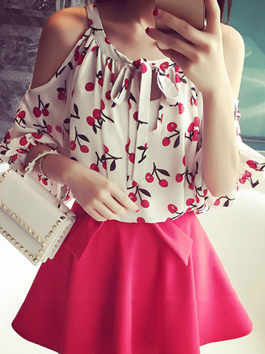 Summer  Chiffon  Women  Open Shoulder  Floral Printed  Half Sleeve Blouses