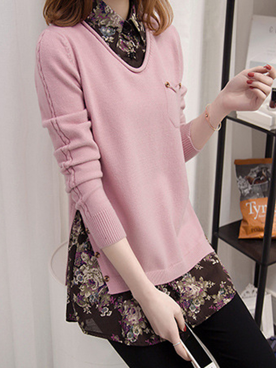 Turn Down Collar Patchwork Printed Pullover