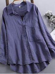 Autumn Spring  Linen  Women  Asymmetric Hem Single Breasted  Plain  Long Sleeve Blouses