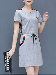 Fashion Round Neck  Drawstring  Plain Shift Dress