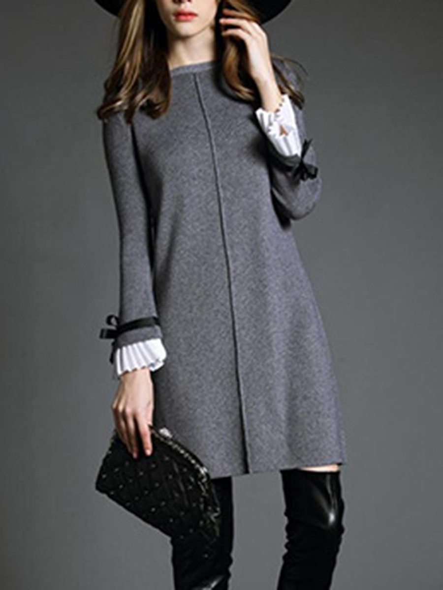 Round Neck Knitted Bowknot Bell Sleeve Shift Dress