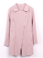 Lapel Zips Plain Pocket PU Leather Trench Coat