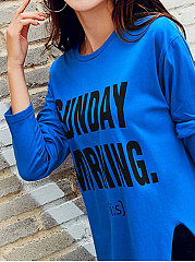 Autumn Spring  Cotton  Women  Round Neck  Slit  Letters Long Sleeve T-Shirts
