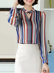 Beading  Color Block Striped Blouses