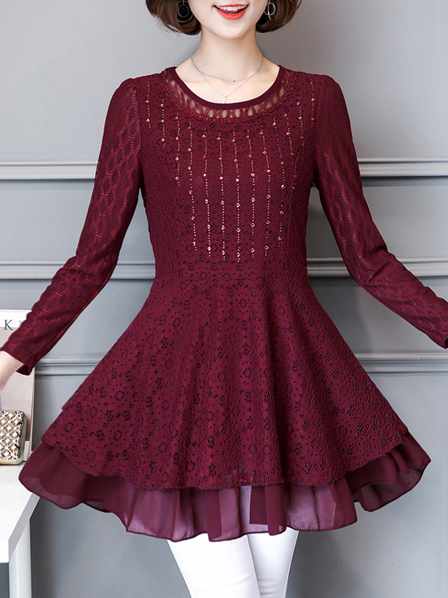 Round Neck Plain Rhinestone Lace Mini Shift Dress