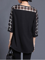 Spring Summer  Polyester  Women  Round Neck  Patchwork  Plain  Three-Quarter Sleeve Blouses