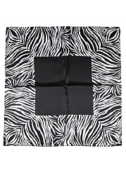 Zebra Stripes Black Silk Squared Scarf