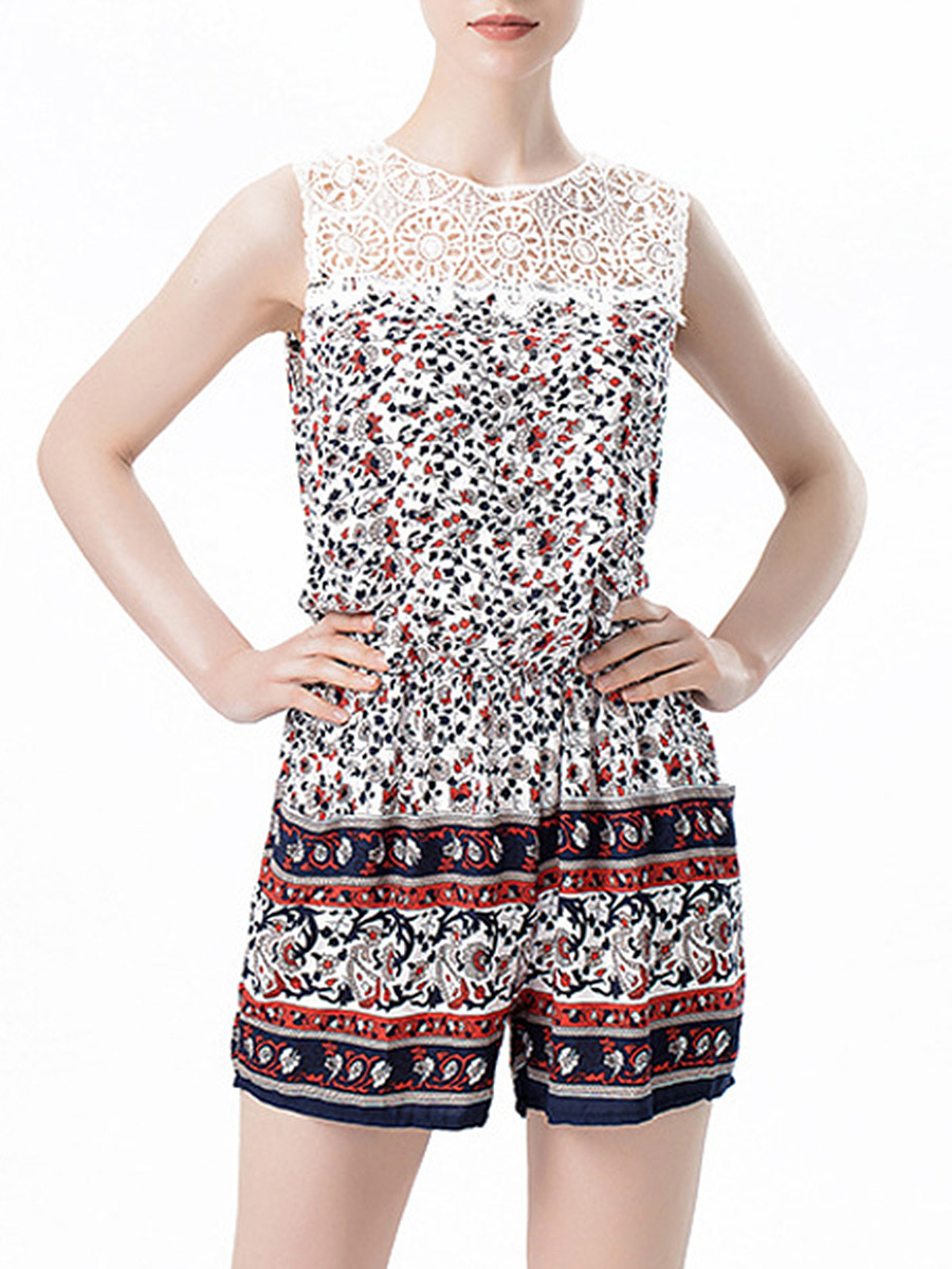 Crew Neck Elastic Waist Pocket Hollow Out Printed Romper