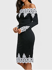 Off Shoulder Decorative Lace Bodycon Dress