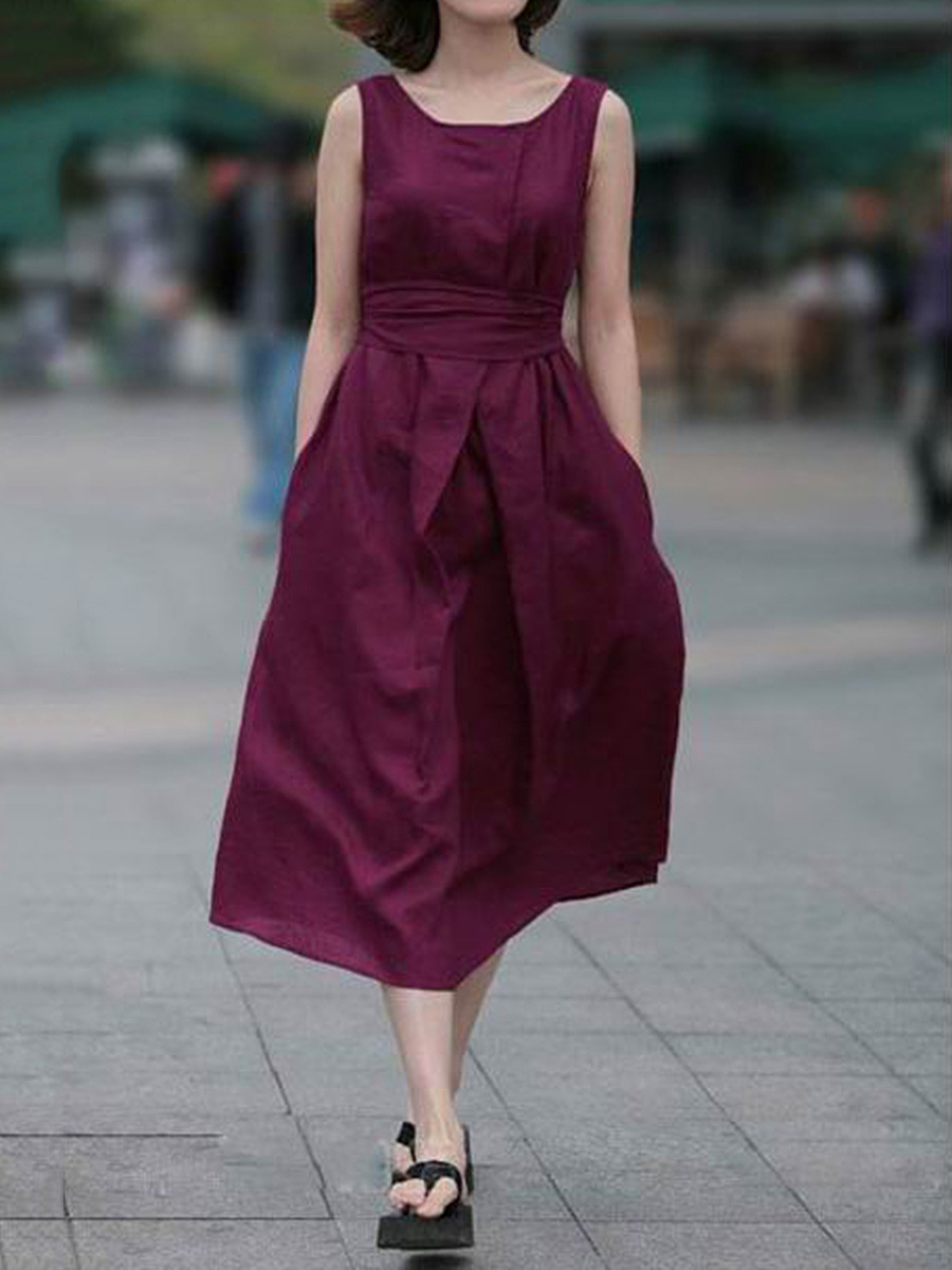 Polo Collar  Belt  Plain  Maxi Dress