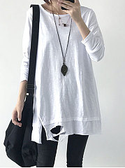 Autumn Spring  Cotton  Women  Round Neck  Slit Tassel  Hollow Out Plain Long Sleeve T-Shirts