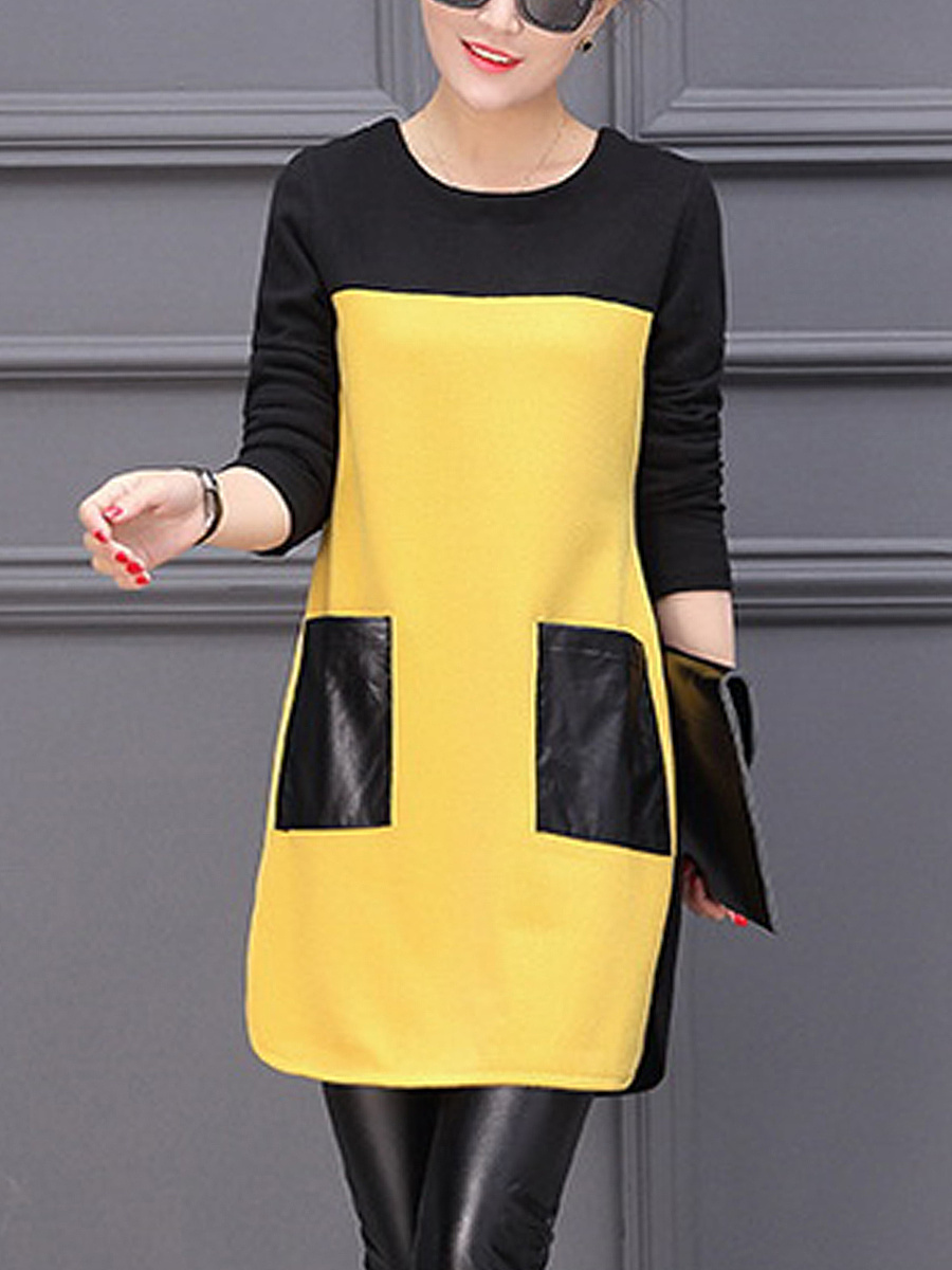 Round Neck Patch Pocket Color Block Bodycon Dress