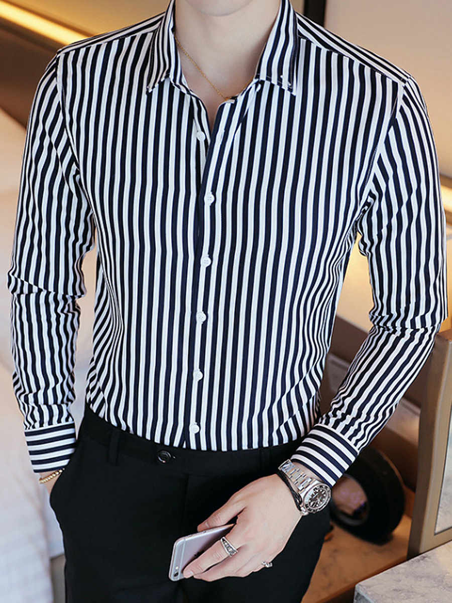 Vertical Striped Men Button Down Collar Shirts