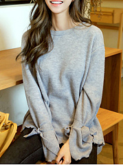 Round Neck  Plain  Tie Sleeve  Long Sleeve Sweaters Pullover