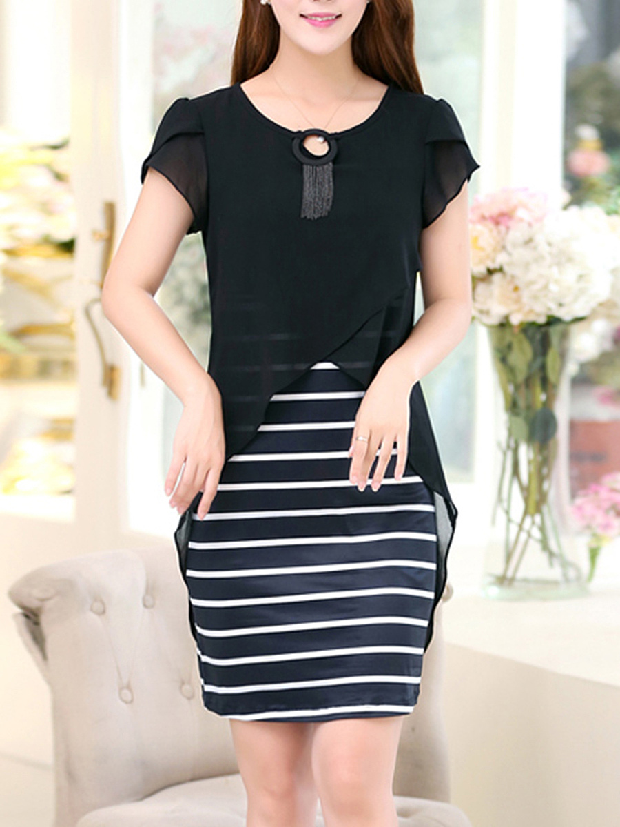 Striped Fringe Petal Sleeve Chiffon Bodycon Dress