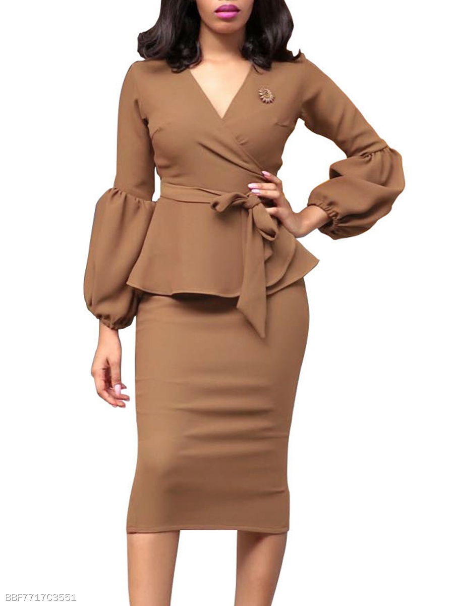V-Neck Peplum Belt Plain Bishop Sleeve Midi Bodycon Dress