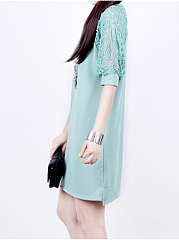 Round Neck Hollow Out Plain Shift Dress
