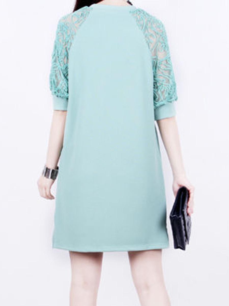 Round Neck Hollow Out Plain Shift Dress