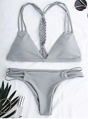 Cutout Strappy Bikini Set