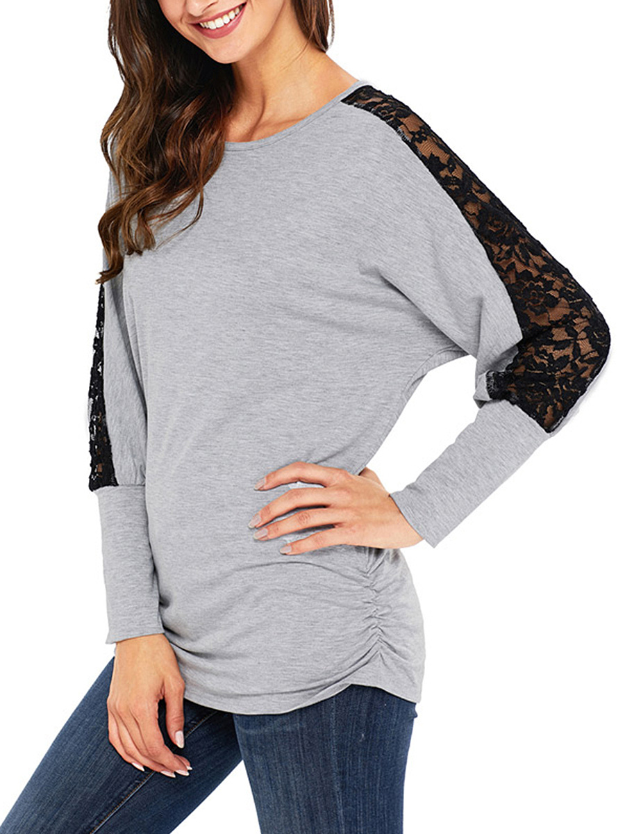 Round Neck Hollow Out Batwing Sleeve T-Shirt
